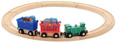 Now your young train engineer can take an elephant and a tiger to the zoo or the circus, with a kid-powered, wooden engine and 2 animal carrier cars.