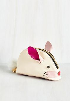 Too Bunny for Words Clutch by Betsey Johnson - White, Solid, Tassels, Quirky, Critters, Good, Faux Leather