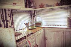 Caravan kitchen. Vintage / Retro styling ....reminiscent of old seaside holidays....