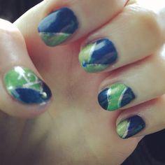 My Seahawks Super Bowl nail art!