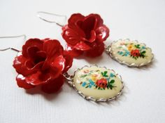 Earrings Vintage Red Rose and Cameo by TheSilverDog on Etsy
