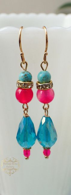 Items similar to Hot Pink / Turquoise Earrings - Boho Earrings - Boho Chic Earrings Golden plated hooks , by VintageRoseGallery on Etsy Pink Turquoise, Turquoise Earrings, Boho Earrings, Boho Jewelry, Drop Earrings, Unique Jewelry, Jewellery, Etsy Jewelry, Morocco