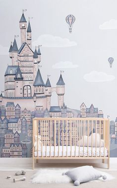 Create an enchanting fairytale theme in your child's space that will inspire their imaginations to run wild with this Princess Palace Fairytale Wallpaper Mural. The large castle scene features cute towns surrounding it as well as hot air balloons in the sky, creating a captivating mural that will turn their nursery or bedroom into a world of make believe. The dusty pinks, purples and blues within the design offers a more sophisticated and stylish take on fairytale design.