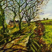 Farm on the Kileenan Road, County Tyrone, Oil and acrylic on canvas from Laura Butler's New Irish Art Gallery