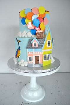First Birthday Parties, First Birthdays, Birthday Cake, Birthday Celebration, Disney Up Cake, Wedding Cake Bakery, Disney Desserts, Ice Cake, Caking It Up