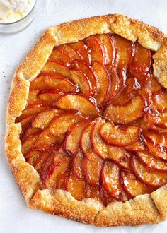 A pretty summer peach galette that combines a flaky rustic pie crust with vanilla scented cinnamonspiced peaches Easier than pie but just as tasty this simple sweet desse. Summer Desserts, Sweet Desserts, Just Desserts, Delicious Desserts, Yummy Food, Dessert Healthy, Tart Recipes, Baking Recipes, Dessert Recipes