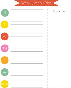 Weekly Menu Plan Printable *FREE* really want to do something like this.