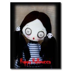 Creepy Cute  #Zombie Doll #Halloween Postcard Postcard by SimonaMereuArt
