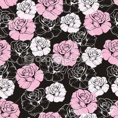 Seamless vector retro floral pattern with elegant pink and white roses on black background Beautiful abstract texture with rose flowers and vintage dark background