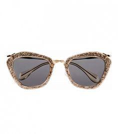 Miu Miu Cat-eye Glittered Acetate and Metal Sunglasses in Pewter // Glitter sunglasses