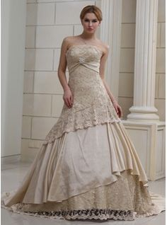 Wedding Dresses - $334.99 - Ball-Gown Strapless Chapel Train Satin Lace Wedding Dress With Ruffle Crystal Brooch Sequins  http://www.dressfirst.com/Ball-Gown-Strapless-Chapel-Train-Satin-Lace-Wedding-Dress-With-Ruffle-Crystal-Brooch-Sequins-002011382-g11382
