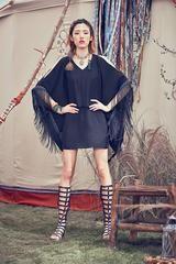 Tassel long sleeve chiffon summer dress