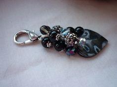 Black Silver And Crystal Handbag Charm