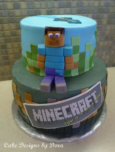 Steve just loves sitting! Cake Minecraft, Minecraft Birthday Party, Boy Birthday Parties, Beautiful Cakes, Amazing Cakes, Cake By The Pound, Cake Pictures, Cakes For Boys, Fancy Cakes