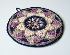 PDF pattern - Stained Glass Mandala Potholder - overlay crochet - decoration for a pillow cover - Instant download