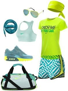 teal neon Yellow nike outfit