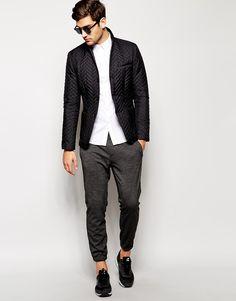 Image 4 ofASOS WHITE Slim Fit Quilted Blazer