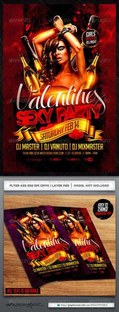 Valentine Party Flyer Template — Photoshop PSD #bottles #lovely • Available here → https://graphicriver.net/item/valentine-party-flyer-template/6565797?ref=pxcr