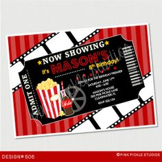 Movie Ticket Birthday Invitation or Thank You by PinkPickleParties, $10.00