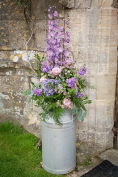 Vintage galvanised milk churn - Rustic Rentals Hire Large Churn - props for wedding, party, barn, tepee, marquee - vintage milk churn - church entrance flower display, pink, lilac, roses, delphiniums