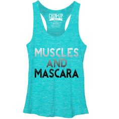 Chin UP Muscles and Mascara Womens Graphic Racerback Tank, Women's, Size: Large, Blue Workout Attire, Workout Wear, Chin Up, Muscle Tees, Racerback Tank Top, Fitness Fashion, Women's Fashion, Athletic Tank Tops, Muscles