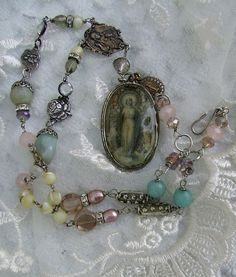 Romantic Devotions Madonna Assemblage Rosary by RTBStudio on Etsy