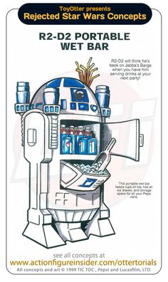 The R2-D2 wet bar can shoot lightsabers AND beer cans over 50 meters! #starwars