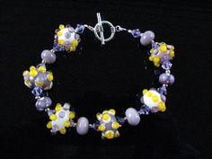 Lampwork Glass Bracelet Handmade Bead Jewelry Handcrafted Wearable Art