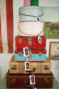 Vintage suitcases and hat boxes from Hot House Market
