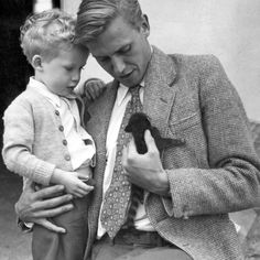 David Attenborough, holding his son Robert, whilst looking at an animal called a coatimundi, brought home from the combined London Zoo - BBC expedition to British Guiana. Get premium, high resolution news photos at Getty Images David Attenborough Young, Boys Beautiful, Coatimundi, British Guiana, Quotes Thoughts, Cat People, Famous People, Cat Lovers, Funny