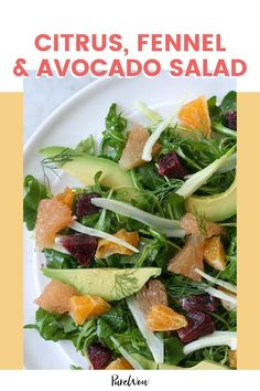 This salad pairs blood oranges, regular oranges and ruby-red grapefruit with peppery arugula, sharp fennel and creamy avocado. Side Dish Recipes, Lunch Recipes, Salad Recipes, Vegetarian Recipes, Cooking Recipes, Healthy Recipes, Keto Recipes, Cooking Food, Dinner Recipes