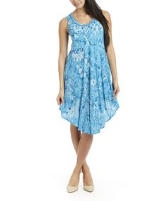 This Turquoise Swirl Tie-Dye Sleeveless Dress by Shoreline is perfect! #zulilyfinds