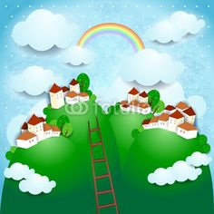 Fantasy background with country, #vector #stockimage