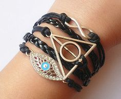 Evil Eye Bracelet / Deathly Hallow Bracelet / Karma Bracelet / Black Leather Braid Band Bracelet