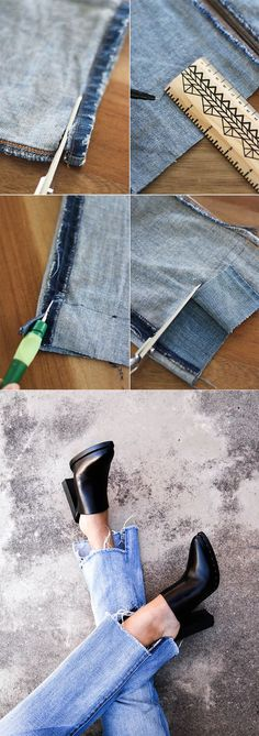 an easy way to update an old, outdated pair of jeans