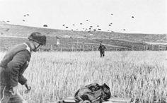 German paratroopers (Fallschirmjäger) landing on Crete