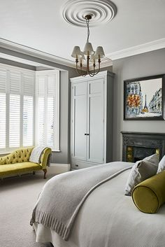 Panelling on cupboard instead of walls. Grey/white tones work well with colour accents. Dark Gray Bedroom, Grey Bedroom Decor, White Bedroom Design, Beautiful Lights, Grey And White, Beautiful Bedrooms, Armoire, Home Goods, Footlocker