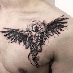 ▷ ideas for an angel tattoo and infos about the popular .- ▷ 1001 + Ideen für ein Engel Tattoo und Infos über die populärsten Designs angel tattoo on breast, blackwork tattoo, man with big wings and sacred certificate, tattoo ideas - Wing Tattoo Designs, Tattoo Designs For Women, Chicano Angel Tattoo, Angel Tattoo Men, Tattoo Drawings, Body Art Tattoos, Fallen Angel Tattoo, Bottle Tattoo, Unique Tattoos