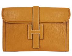 Hermes Jige Gold PM Clutch Bag Ardennes Leather
