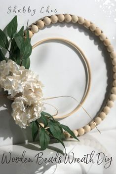 Wooden Home Decor Shabby Chic super easy to make sliced wooden beads embroidery hoop wreath DIY will add lots of detail into your home. Must have evergreen wreath Shabby Chic Farmhouse, Shabby Chic Decor, Farmhouse Decor, Modern Farmhouse, Shabby Chic Homes, Shabby Chic Grey Bedroom, Target Farmhouse, Shabby Chic Cabinet, Shabby Chic Colors