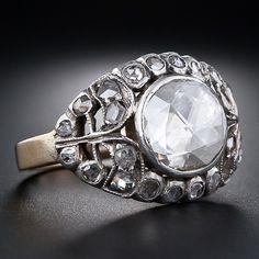 Georgian Rose Cut Antique Diamond Ring ...14 karat rose gold shank