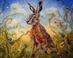 marmaladerose. 'Cornflower Hare',wet felted wool, textile art from Yorkshire artist, Fiona Gill