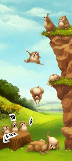 Digital Illustration by Daniela Uhlig  |  Like these crazy gophers, sometimes you just gotta take a leap of faith & have fun with it.