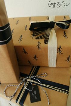 Brown paper packages tied up with string (& ribbons). Gift wrapping on the cheap never looked so good!
