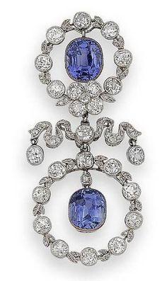 Belle epoque sapphire and diamond brooch, c.1905