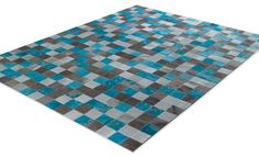 Hand made cow skin rug, in grey and turquoise colors, with panel cm. Cow Skin Rug, Cow Hide, Turquoise Color, Flooring, Rugs, Grey, Colors, Handmade, Products