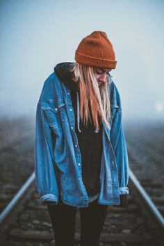 cold weather foggy fog moody mood girl blonde woman standing person portrait people beanie train tracks trains train tracks