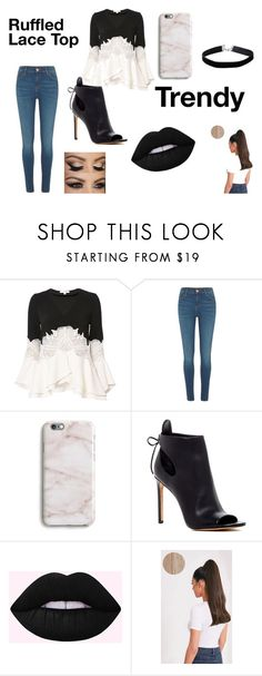 """""""Ruffled Lace Top"""" by scbh05 ❤ liked on Polyvore featuring Jonathan Simkhai, River Island, Harper & Blake, Vince, Miss Selfridge, chic, black, lace, Trendy and FancySchmancy"""