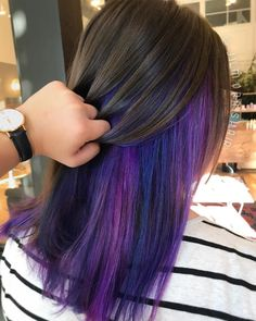 Underlights let you choose how much color you want to show off every day. Megan can maintain her professional image and still enjoy vibrant color! styled with pulpriothair love_kevin_murphy wellahair Hair Color Streaks, Hair Color Purple, Hair Dye Colors, Hair Highlights, Kevin Murphy, Peekaboo Hair Colors, Purple Peekaboo Highlights, Hair Color Underneath, Under Hair Color