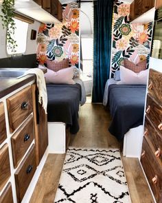 This wallpaper from is the star of the show in the Airstream! 🌟 It is called Bohotropical_FAP, and it is gorgeous! Home, Remodel, Diy Camper Remodel, Bus Living, Van Home, Tiny House Camper, Camper Living